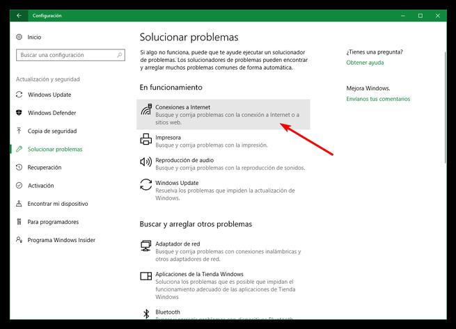 Solucionar problemas de red Windows 10