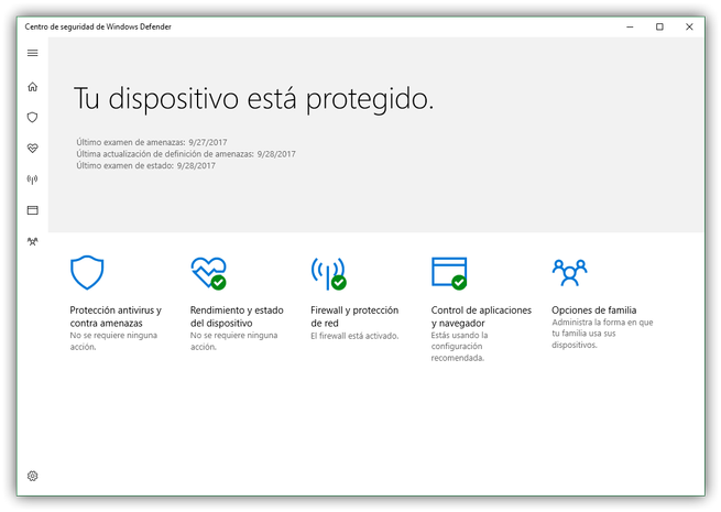 Suite Windows Defender en Windows 10