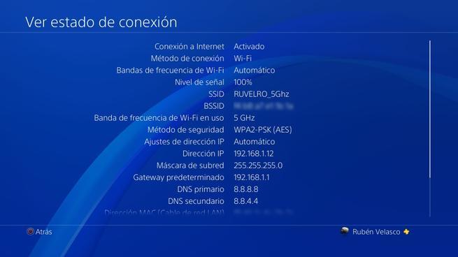 Ver estado conexión Wi-Fi PS4