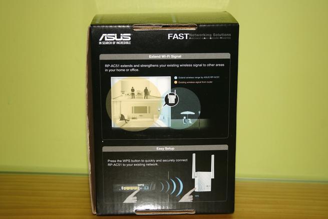 Trasera de la caja del repetidor Wi-Fi ASUS RP-AC51