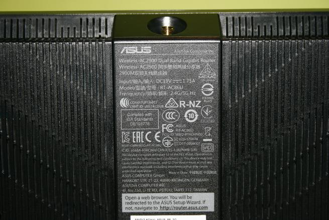 Zona de la pegatina del router gaming ASUS RT-AC86U