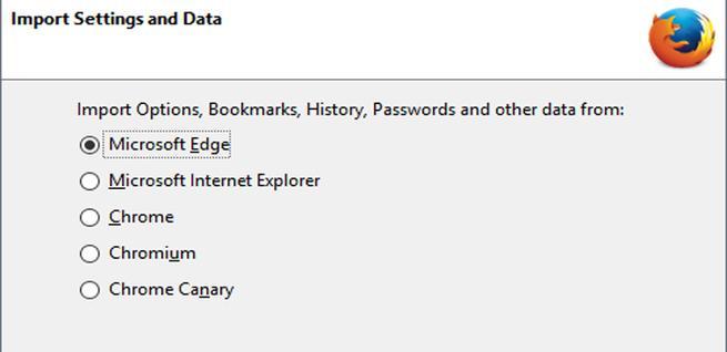 Importar datos en Firefox