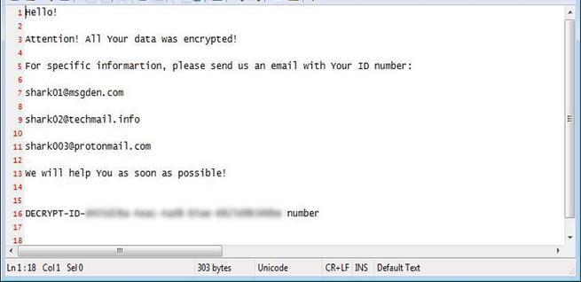 Nota de rescate de la variante de ransomware Shark