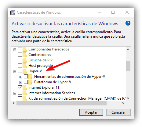 Activar Hyper-V Windows 10