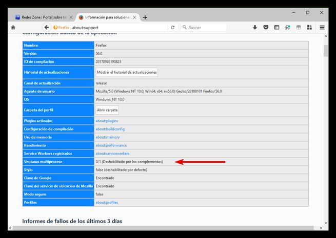 Firefox Multi-Proceso desactivado