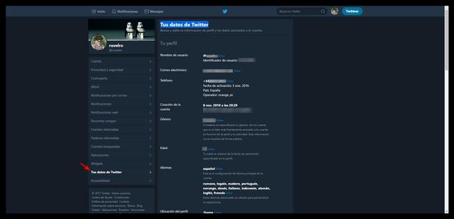 Revisar información personal Twitter