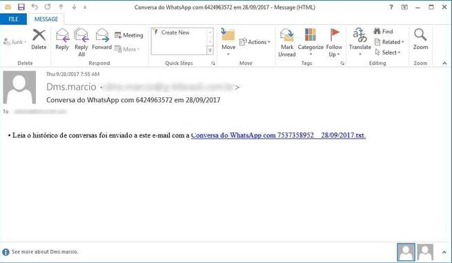 whatsapp mensaje falso para distribuir malware en Windows