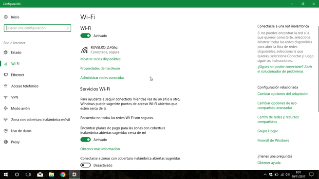 Administrar redes Wi-Fi Windows 10
