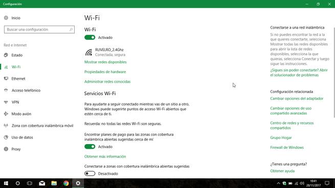 Ajustes redes Wi-Fi Windows 10