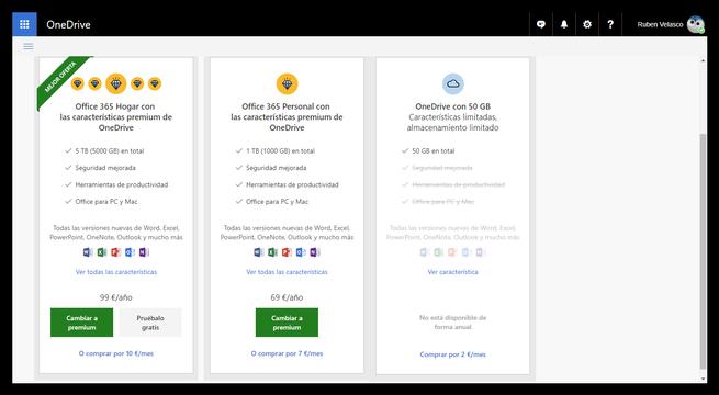 Espacio almacenamiento OneDrive