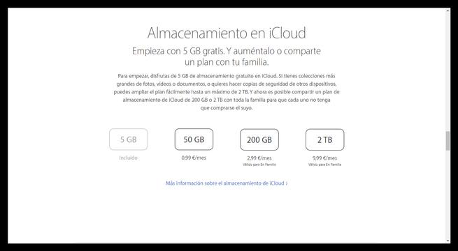 Espacio almacenamiento iCloud