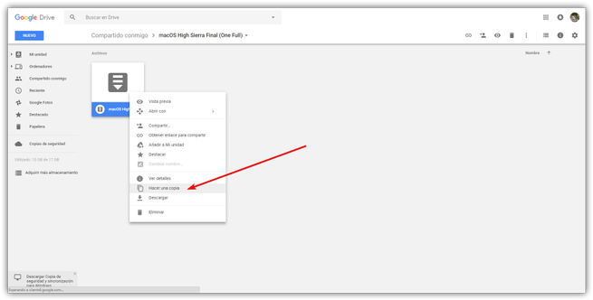 Hacer copia archivo Google Drive