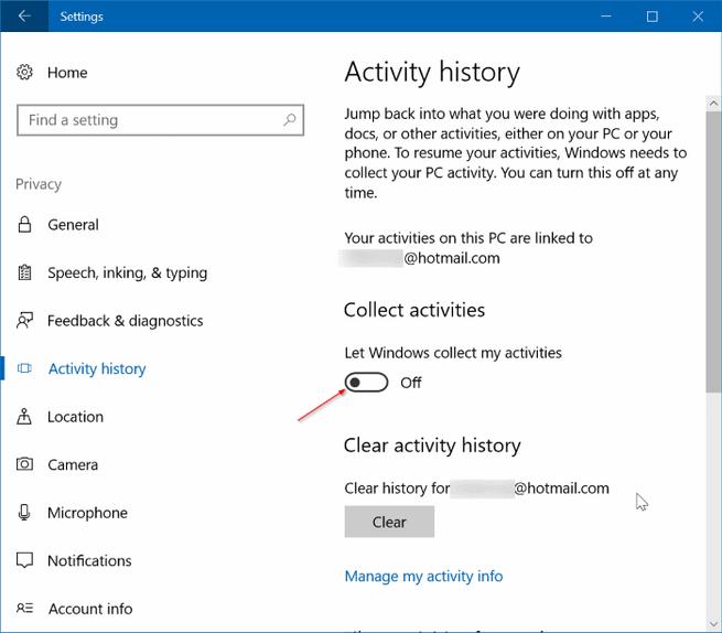 Historial de actividad Windows 10