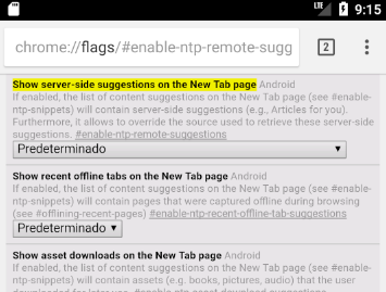 Inhabilitar sugerencias Google Chrome Android