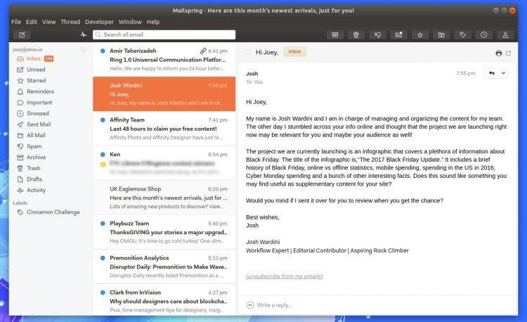MailSpring cliente de correo electrónico gratuito para Linux
