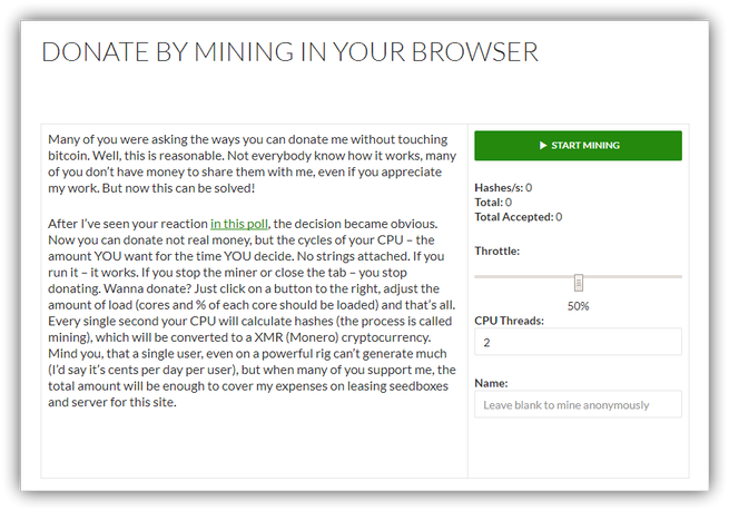 Web Minar Criptomonedas opcional