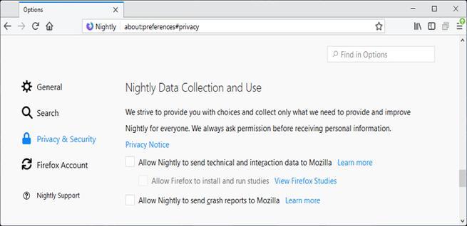 Datos de telemetría de Firefox