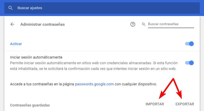 Botones Importar Exportar Contraseñas Google Chrome