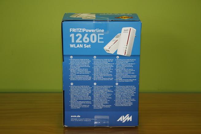Trasera de la caja de los PLC de alto rendimiento FRITZ!Powerline 1260e WLAN Set