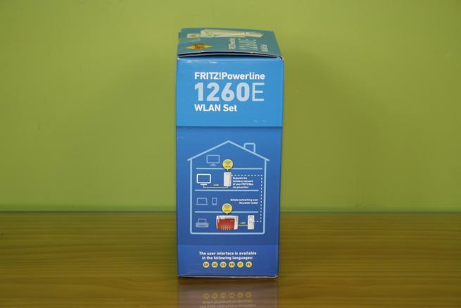Lateral izquierdo de la caja de los PLC FRITZ!Powerline 1260e WLAN Set
