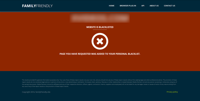 Family Friendly Filter - Web Bloqueada