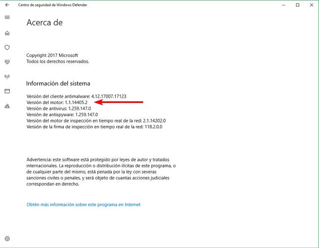 Versión Motor Windows Defender actualizada vulnerabilidad RCE