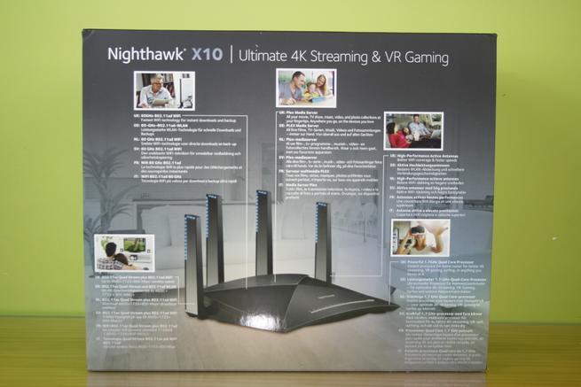 Principales características en la parte trasera de la caja del NETGEAR R9000 Nighthawk X10