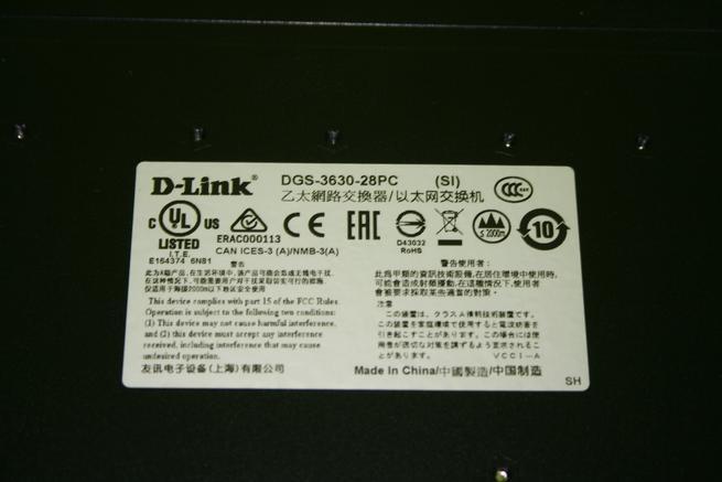 Pegatina de la zona inferior del switch L3 D-Link DGS-3630-28PC