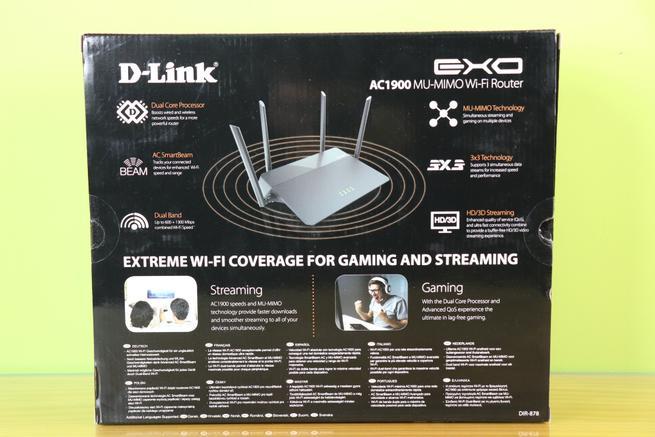 Trasera de la caja del router neutro D-Link DIR-878 en detalle