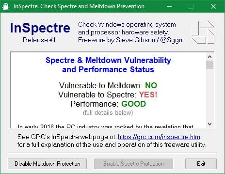 InSpectre - Protección Meltdown Spectre