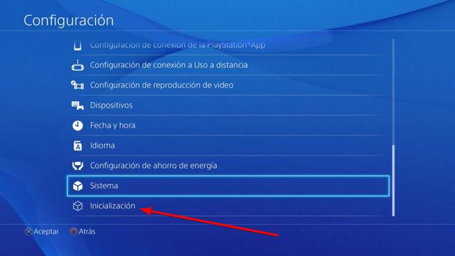 Inicialización PS4