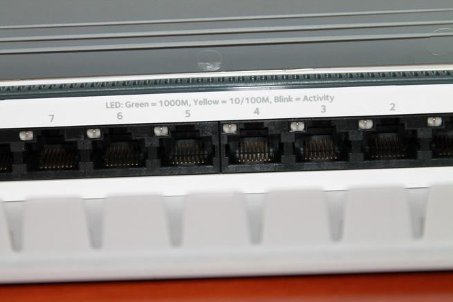 Detalles de los puertos Gigabit del switch NETGEAR GS980E