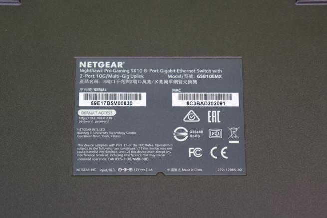 Pegatina del switch 10Gigabit NETGEAR Nighthawk GS810EMX en detalle
