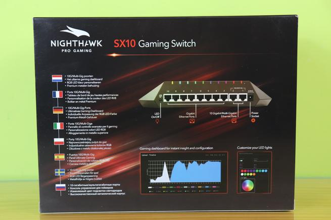 Trasera del switch gaming NETGEAR Nighthawk GS810EMX