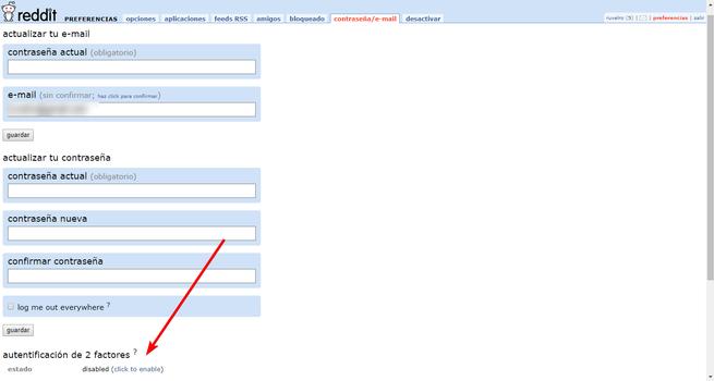 Preferencias de correo y contraseña Reddit
