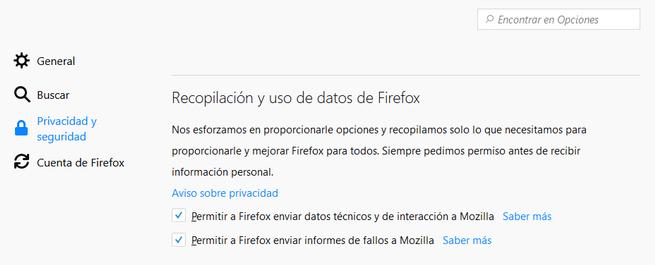 Recopilación datos Firefox