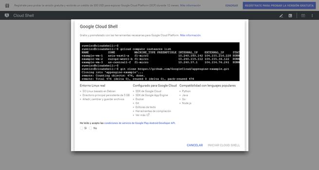 Resumen funciones Google Cloud Shell