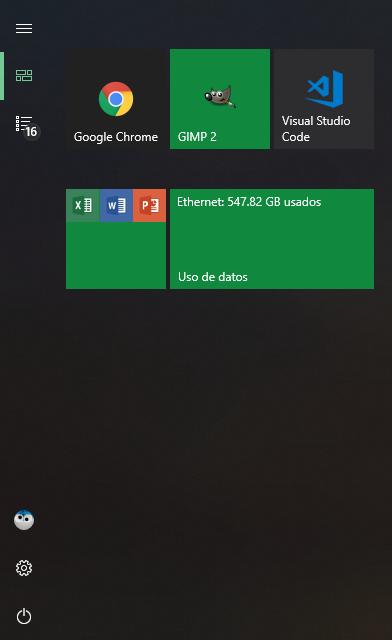 Tile uso de datos inicio windows 10