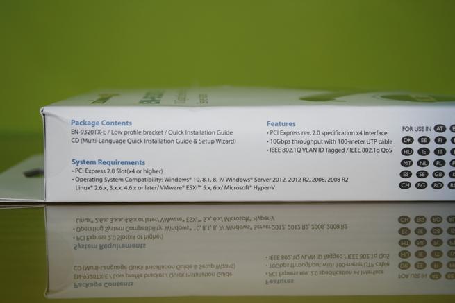 Lateral izquierdo de la caja de la tarjeta de red Edimax EN-9320TX-E