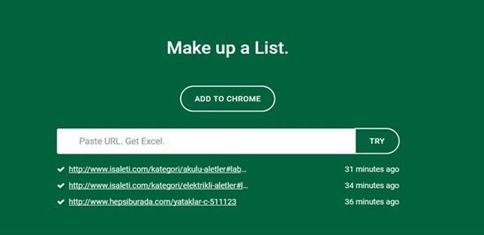 Listly, el conversor de datos web a Excel