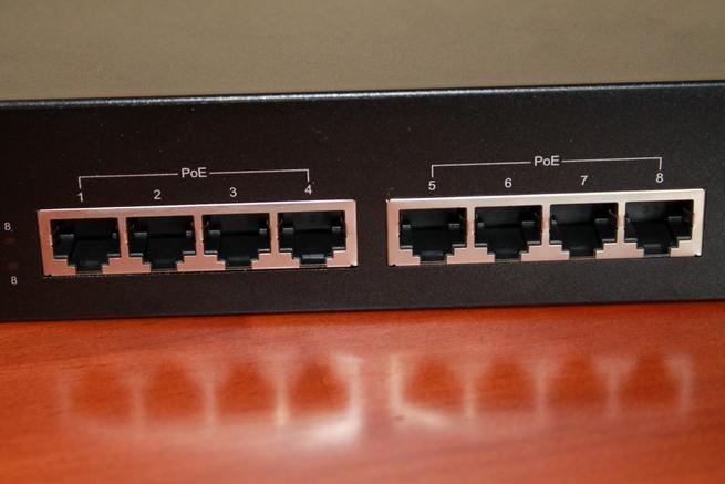 Conjunto de puertos de red Gigabit del Edimax GS-1008P V2