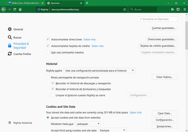 Firefox 60 - Opciones privacidad historial 2
