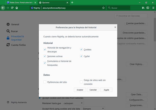 Firefox 60 - Opciones privacidad historial 3