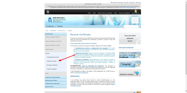 Renovar certificado Web FNMT
