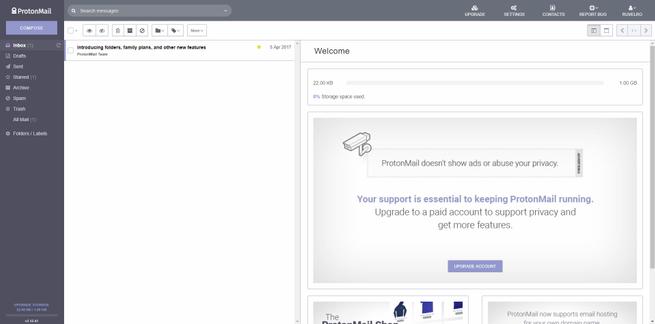 Bandeja de entrada ProtonMail