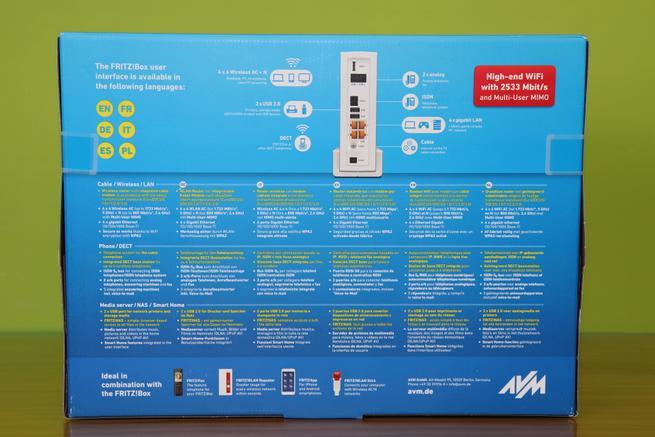 Trasera del router FRITZ!Box 6590 Cable con todas las características
