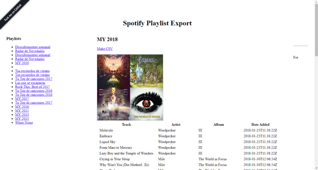 Spotify Playlist Export