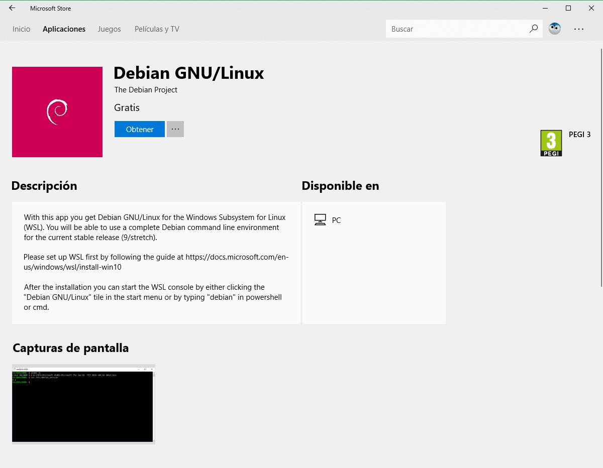 Ya puedes descargar Debian desde la Microsoft Store para el WSL
