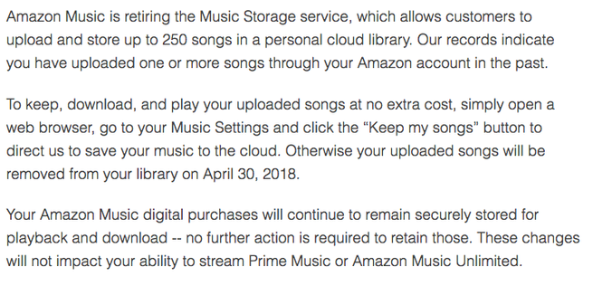 Amazon Music Storage cierre del servicio