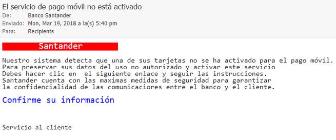 ataque phishing con la imagen del banco santander